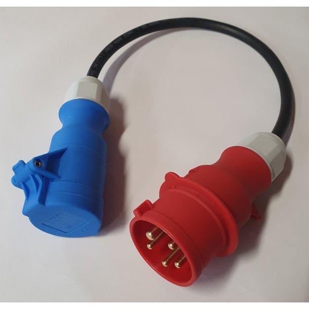 Adapterkabel 5P CEE 16A til 3P CEE 16A, 0,5 mtr