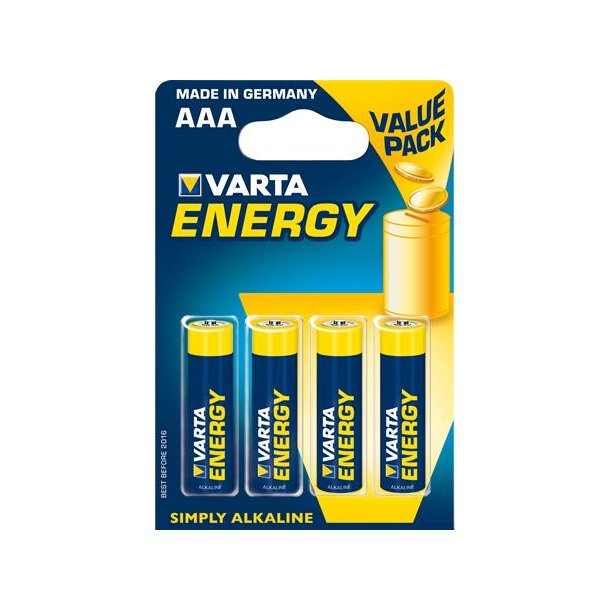 Batteri Alkaline 1,5V AAA Lr03 (=4 stk.)