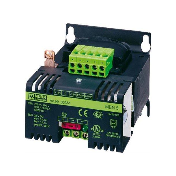 Strømforsyning 400/230VAC til 24VDC, 1A