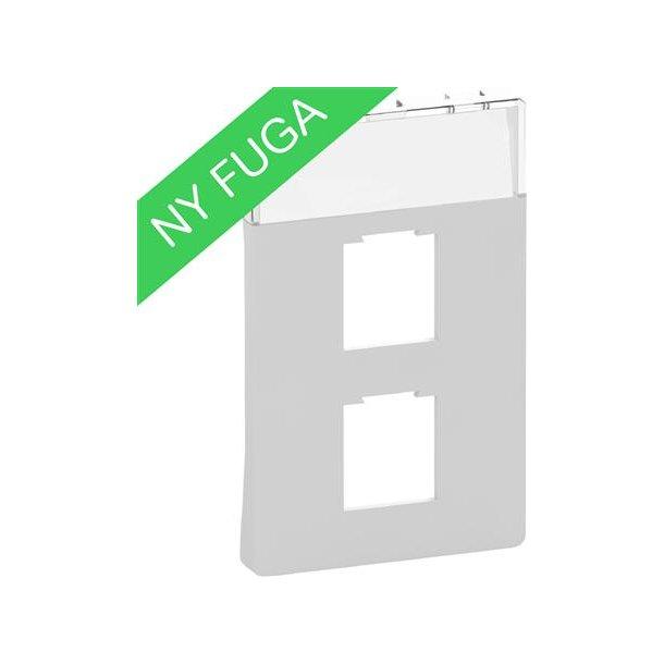 Afdækning Fuga 1/2xRJ45, (8/8), 1½M Lysegrå