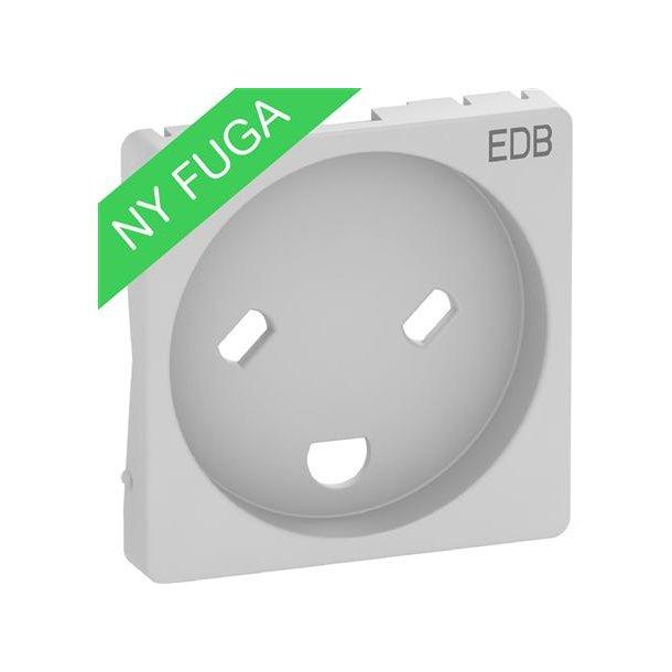 Afdækning Fuga EDB Stik Med Led 1 modul  Lysegrå