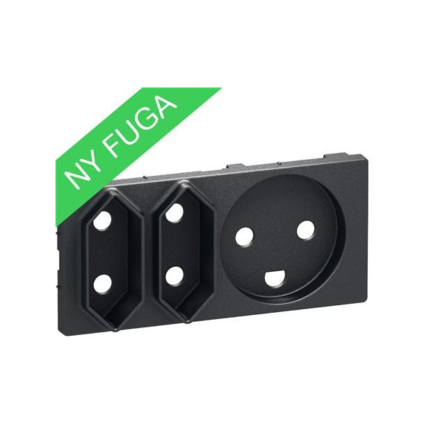 Afdækning Fuga Komb Kl1+Kl2 2 modul Koksgrå