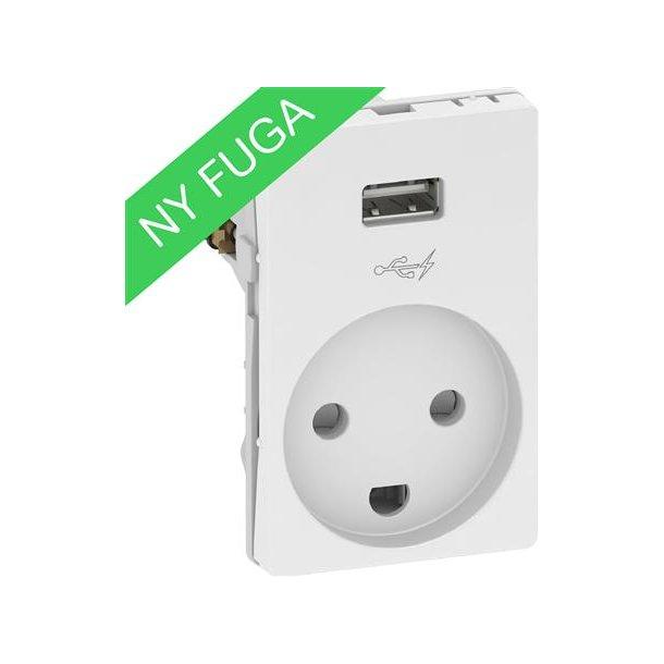 Fuga USB Stikkontakt 1,5 Modul Hvid