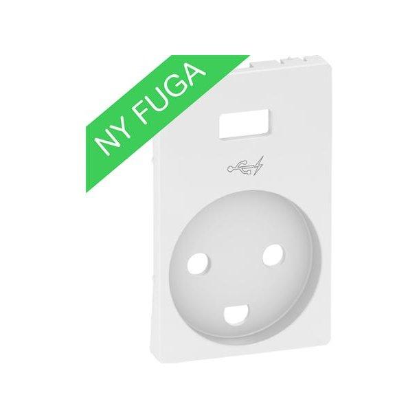Afdækning Fuga Stikkontakt M/J + 5V USB  Lysegrå
