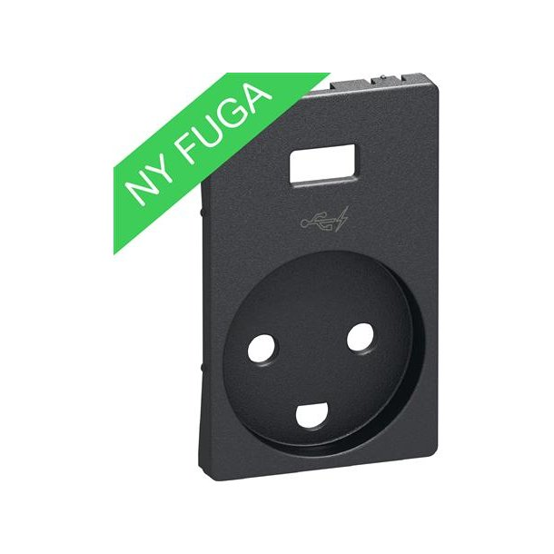 Afdækning Fuga Stikkontakt M/J + 5V USB Koksgrå